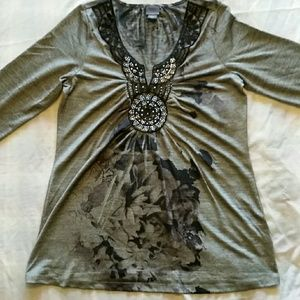 BUNDLE EUC Gray Tunic with Rhinestones M